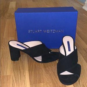 Stuart Weitzman Galene Sandal in black suede